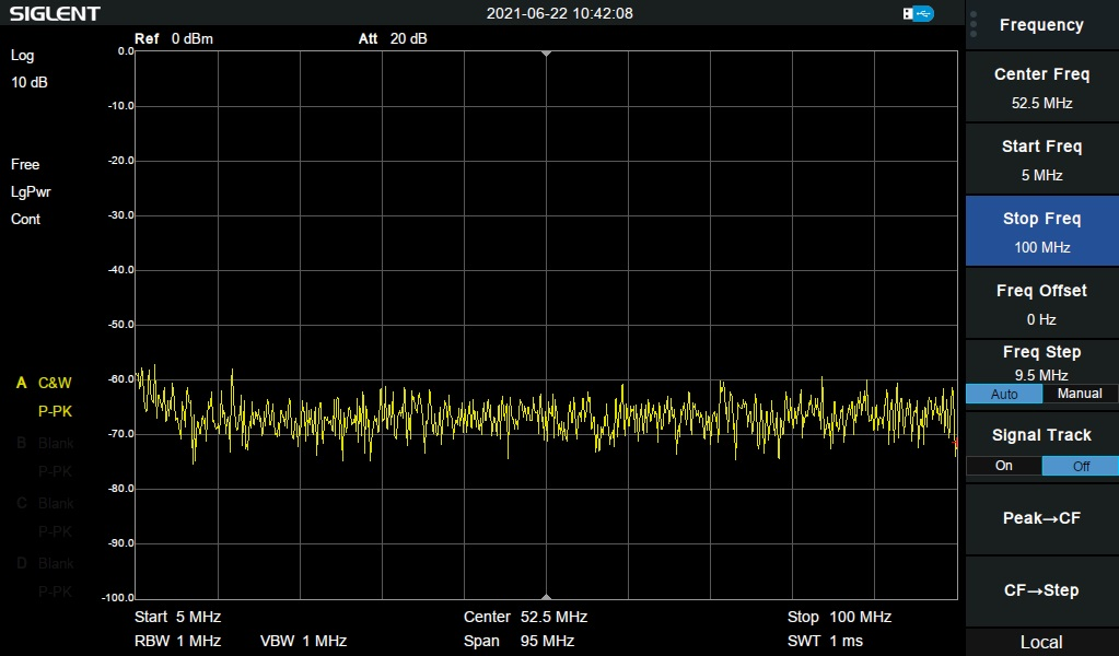 Setting start and stop frequencies of filter test